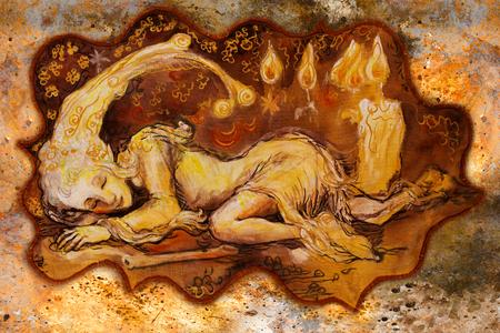 collorful illustratie van zachte elfje schepsel slaap bij kaarslicht. Stockfoto