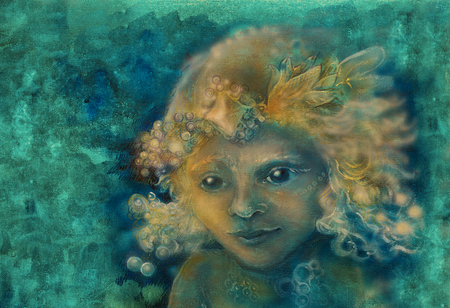 elemental: little sweet fairy child portrait, closeup detail on abstract background.