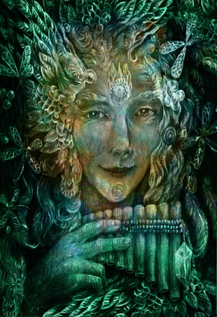 shaman: forest fairy shaman with panflute and crystal, detailed colorful illustration.