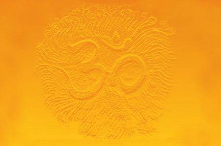 shanti: golden om symbol emanating light, illustration on abstract background. Stock Photo