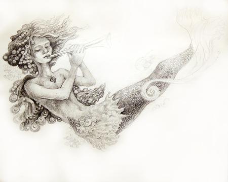 monochromatic: little mermaid playing flute, monochromatic ornamental illustration. Stock Photo