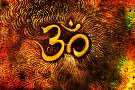 emanating: golden om symbol emanating light, illustration on abstract background. Stock Photo