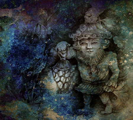 kobold: little forest dwarf carrying his lantern in woodland, colorful drawing. Stock Photo