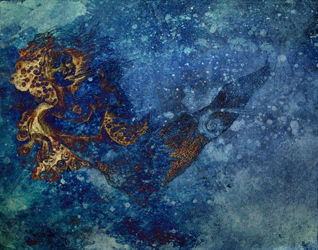 undine: abtract background with ocean mermaid drawing and blue spotted pattern