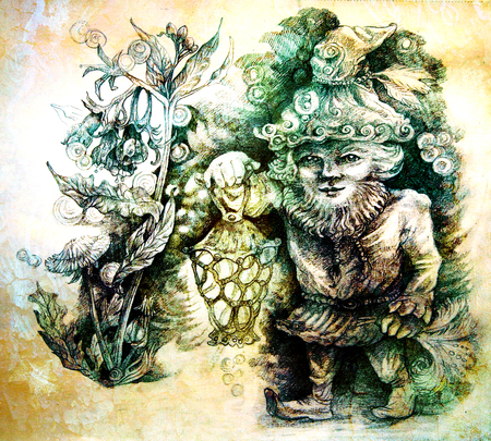 dwarf: little forest dwarf carrying his lantern in woodland, colorful drawing. Stock Photo
