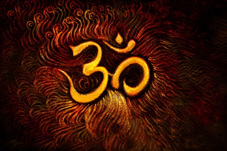 golden om symbol emanating light, illustration on abstract background. Stock Photo