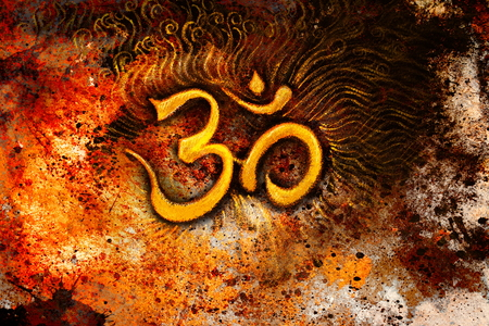 golden om symbol emanating light, illustration on abstract background. Stock Photo