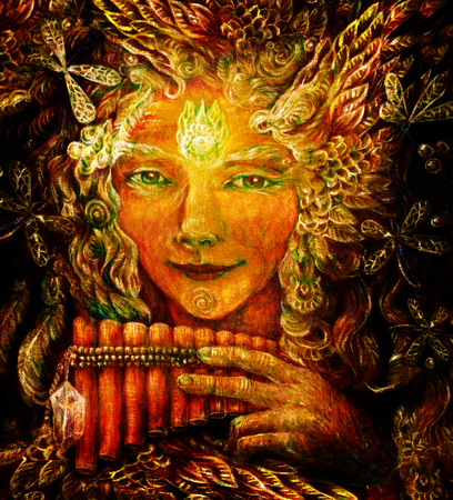 wicca: forest fairy shaman with panflute and crystal, detailed colorful illustration.