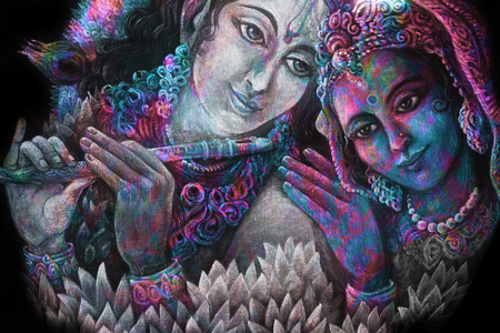 divine couple krishna and radha togerher, painting illustration. Stock Photo