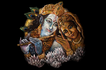 radha: radha and krishna playing flute, hand painted illustration. Stock Photo