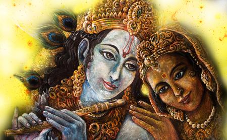 divine couple krishna and radha togerher, painting illustration. Standard-Bild