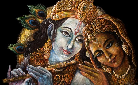 radha: divine couple krishna and radha togerher, painting illustration. Stock Photo