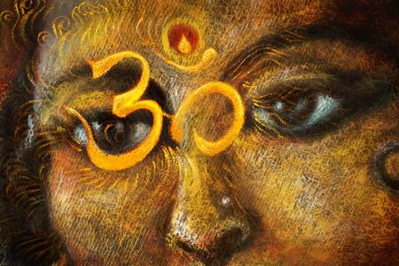 detail: closeup detail of hindu woman eyes with sacred symbol, illustration.