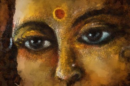 sacred symbol: closeup detail of hindu woman eyes with sacred symbol, illustration.