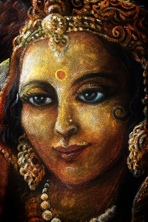 radha: head of radha with golden jewels, hand painted illustration. Stock Photo