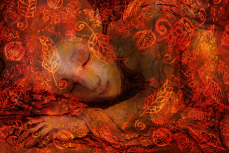 sweet elven dreams - little sleeping fairy, hand painted and computer collage. Stock Photo