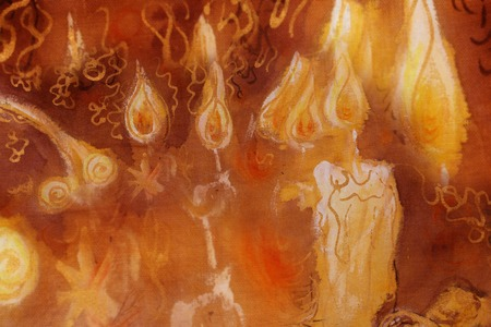 burning paper: bunch of burning candles with ornamental lines, detail of painting.