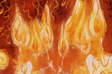 detail of bunch: bunch of burning candles with ornamental lines, detail of painting.