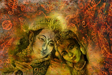 radha: radha and krishna hindu couple on abstract decorative background.