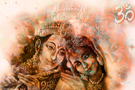 radha: krishna radha couple with sacred symbol, graphic from handpainted original.
