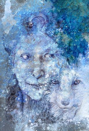 diosa sabia chamánica bosque de la mujer, con una segunda naturaleza de un zorro, hermoso dibujo lineal detallada monocromática, con hojas y estructuras ornamentales, el contacto visual Foto de archivo