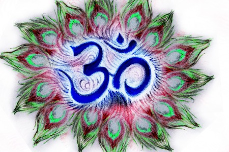 sanskrit: sacred aum sanskrit symbol in circle of peacock feathers.