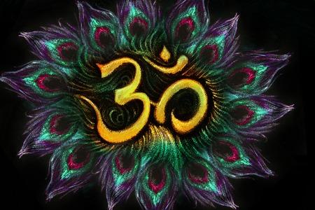aum: sacred aum sanskrit symbol in circle of peacock feathers.