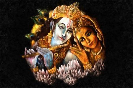 radha and krishna playing flute, hand painted illustration. Stock Photo