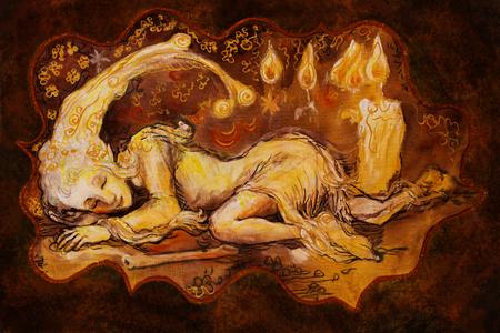illustrazione Collorful di dolce poco sonno creatura elfo a lume di candela.
