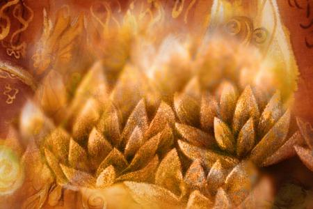 gouden lotusbloembloemblaadjes met flikkerend licht, illustratie. Stockfoto