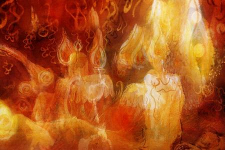 colores calidos: fondo decorativo con la quema de velas, flores y adornos.