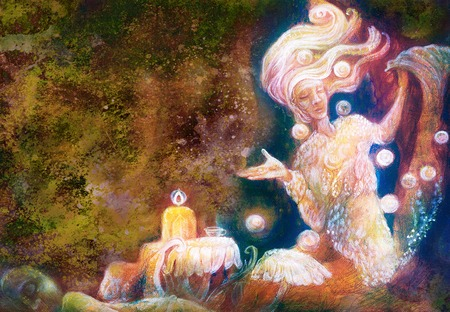 wholeness: magical radiant fairy spirit in forest dwelling making floating lights.