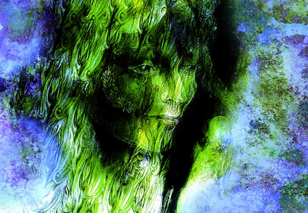wholeness: head of green woodland fairy on abstract background, illustration. Stock Photo