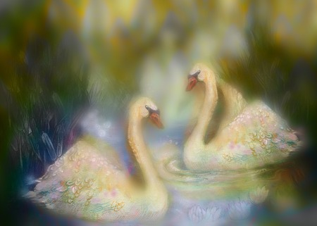 Graceful swans in love swimming together, illustration collage .