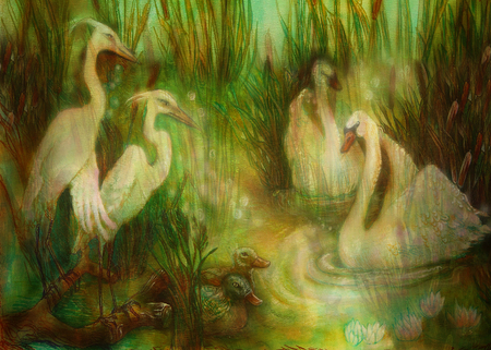 common reed: pair of swans and crane birds at pond surrounded with reeds, fairytale illustration.