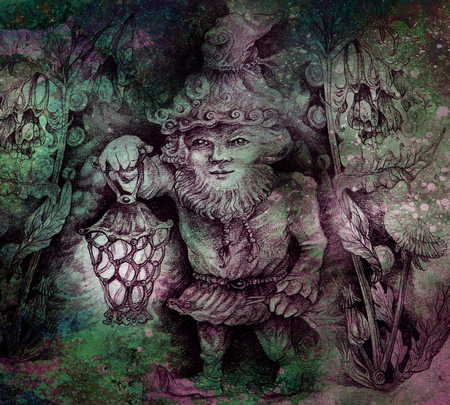 druid: little forest dwarf carrying his lantern in woodland, colorful drawing. Stock Photo