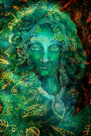 Beautiful colorful painting of a radiant elven creatures and energy lights, fantasy emerald green fairy portrait, colorful close up painting, eye contact