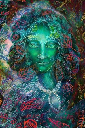green fantasy fairy spirit with leaf ornaments, illustration collage.