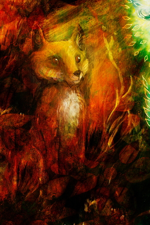grass close up: Orange fox sitting in grass in sun rays, colorful painting, abstract background