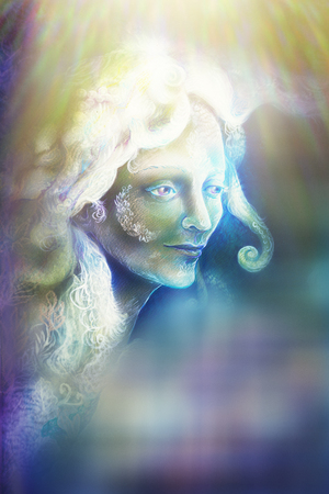 wholeness: beautiful angel fairy spirit in rays of light, illustration.