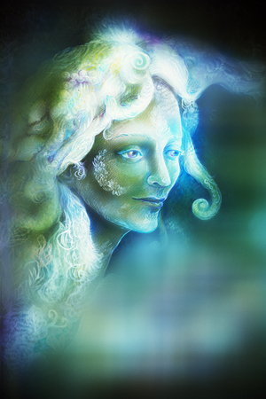 wholeness: fairytale fairy woman face on abstract background with blur effect. Stock Photo