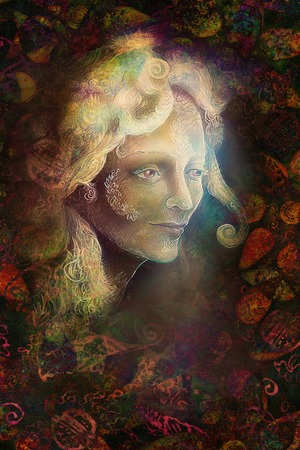 wholeness: fairytale fairy woman face on abstract background with ornaments.
