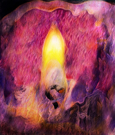 alight: graphic illustration of candle flame and candlewick closeup. Stock Photo