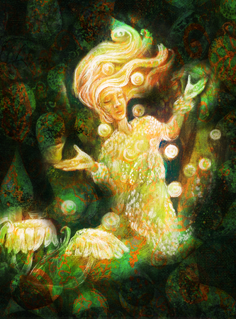 magical forest: magical radiant fairy spirit in forest dwelling making floating lights.