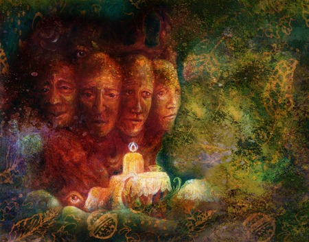 Sacred tree of four faces, fantasy colorful painting. Stock Photo