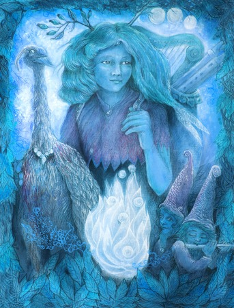 bard: medieval pilgrim and minnesanger girl with her company, fairytale story illustration in winter blue.