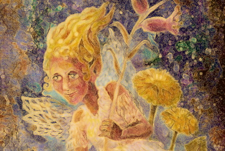 little flower pixie fairy with dandelion and bellflower, fairytale illustration. Stock Photo