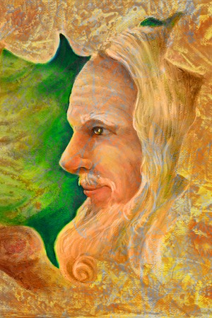 druid: old wise senior druid profile portrait, oil painting on canvas with graphic structure. Stock Photo