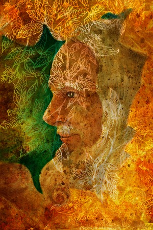 bard: old wise senior druid profile portrait, oil painting on canvas with graphic structure. Stock Photo