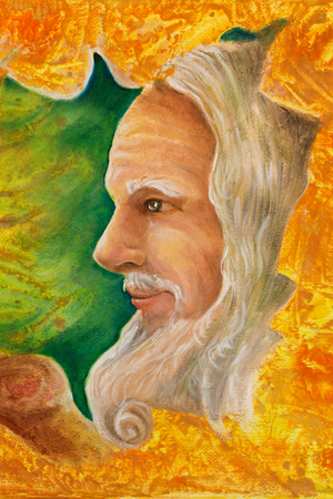 old wise senior druid profile portrait, oil painting on canvas with graphic structure. Stock Photo